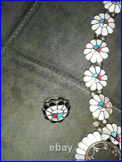 Rare Silver Ashbarry Gasper Zuni Gods Eye squash blossom necklace and rings set