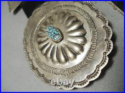 Rare Spiderweb Turquoise Vintage Navajo Sterling Silver Concho Belt Old