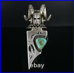 Rare Sterling Silver Bennie Ration Turquoise Totem Kachina Pendant 4 PS1774