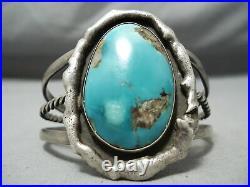 Rare Sterling Slag Vintage Navajo Morenci Turquoise Silver Bracelet Old
