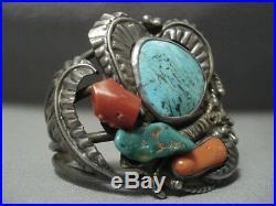 Rare Turquoise! Blue Wind Vintage Navajo Sterling Silver Bracelet Old Pawn