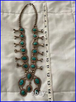 Rare! Turquoise Squash Blossom Necklace Navajo Handmade Sterling Silver