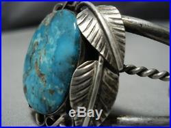 Rare Turquoise! Vintage Navajo Blue Wind Sterling Silver Bracelet