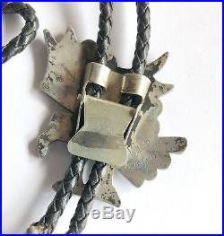 Rare V. Noche Signed Zuni Sterling Silver Multi Stone Inlay Bald Eagle Bolo Tie