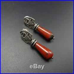 Rare VERNON HASKIE Vintage NAVAJO Sterling Silver RED JASPER Drop EARRINGS