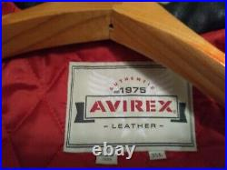 Rare VTG 90S Avirex Senatobia Choctaws Bull Skull Leather Bomber Jacket Mens 3XL
