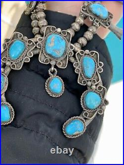 Rare Vintage 1940s Sterling Silver Squash Blossom Turquoise Native American