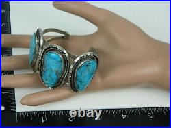 Rare Vintage 1974 Sue George Navajo Turquoise Sterling Silver Wire Cuff Bracelet