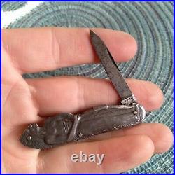 Rare Vintage D Peres Solingen Figural Native American Folding Pocket Knife