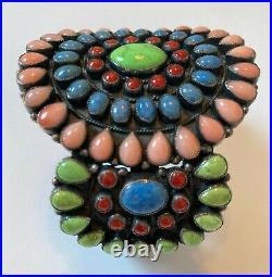 Rare Vintage Don Lucas Multi Stone Cuff Bracelet Sterling Native American