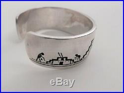Rare Vintage Hopi Victor Coochwytewa Silver Overlay Cuff Bracelet, Kopavi Shop