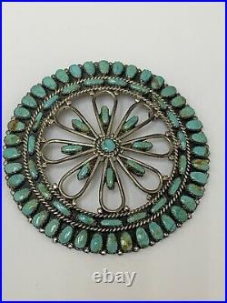 Rare Vintage Huge Larry Moses Begay Navajo Turquoise Sterling Cluster Pendant