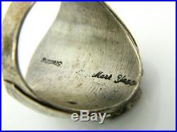 Rare Vintage Mark Yassie Navajo Coral Sterling Silver Raindrop Ring Sz. 11.75