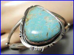 Rare Vintage Navajo #8 Turquoise Sterling Silver Bracelet Old