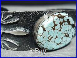 Rare Vintage Navajo #8 Turquoise Sterling Silver Lizard Bracelet
