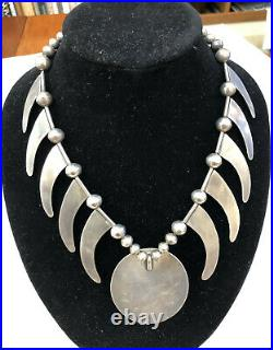 Rare Vintage Navajo All Silver Necklace With Cross Medalion & Silver Bear Claws
