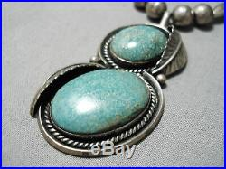 Rare Vintage Navajo Apache Turquoise Sterling Silver Leaf Necklace Old