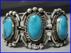 Rare Vintage Navajo Blue Gem Turquoise Sterling Silver Native American Bracelet