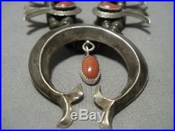 Rare! Vintage Navajo Coral Sterling Silver Squash Blossom Necklace Old