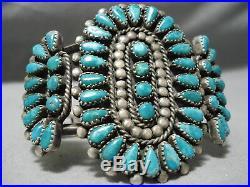 Rare Vintage Navajo Gilbert Turquoise Sterling Silver Bracelet Old