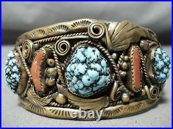 Rare Vintage Navajo Justin Morris Spiderweb Turquoise Sterling Silver Bracelet