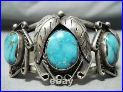 Rare Vintage Navajo Old Morenci Turquoise Sterling Silver Bracelet