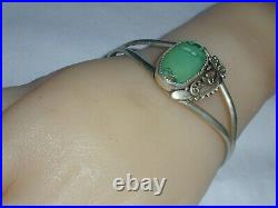 Rare Vintage Navajo Peterson Johnson Sterling Old Turquoise Cuff Bracelet