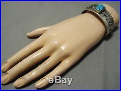 Rare Vintage Navajo Rectangular Turquoise Sterling Silver Bracelet Old