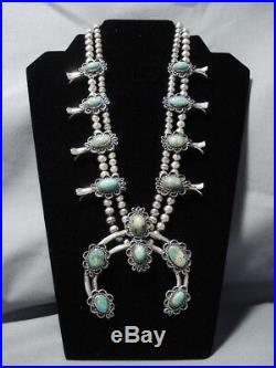 Rare Vintage Navajo Royston Turquoise Sterling Silver Squash Blossom Necklace