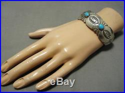 Rare Vintage Navajo Sky Blue Turquoise Sterling Silver Eddie Yazzie Bracelet