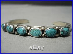 Rare Vintage Navajo Spiderweb Turquoise Sterling Silver Bracelet Old