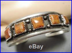 Rare Vintage Navajo Squared Coral Sterling Silver Native American Bracelet