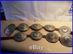 Rare Vintage Navajo Sterling Silver Herbert Begay Concho Belt 1.8 Oz Ea Sz 29-33