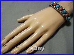 Rare! Vintage Navajo Tasuse Turquoise Coral Sterling Silver Bracelet