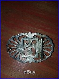 Rare Vintage Navajo Turquoise Sand Cast Sterling Silver Belt Buckle OLD PAWN