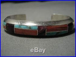 Rare Vintage Navajo Turquoise Spiny Oyster Sterling Silver Cuff Inlay Bracelet