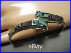 Rare Vintage Navajo Turquoise Sterling Silver Native American Bracelet Old
