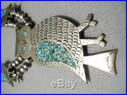 Rare Vintage Navajo Turquoise Sterling Silver Owl Squash Blossom Necklace Old