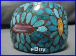 Rare! Vintage Santo Domingo Kewa Inlay Turquoise Sterling Silver Bracelet Cuff