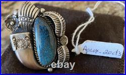 Rare Vintage Signed Navajo Sterling Silver Lander Blue Turquoise Ring Size 9 1/4