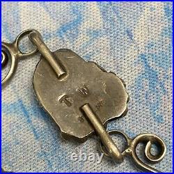 Rare Vintage Signed Sterling Curls Turquoise Nugget Slave Bracelet Size 7 Ring