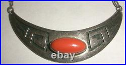 Rare Vintage Weaver Selina Hopi sterling silver coral necklace