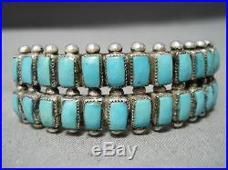Rare Vintage Zuni Navajo Squared Turquoise Sterling Silver Bracelet Old