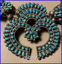 Rare Vintage Zuni Tribe Squash Blossom Necklace 1940's
