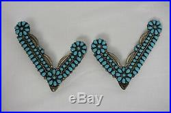 Rare Vintage sterling Silver turquoise Collar Protectors Tips