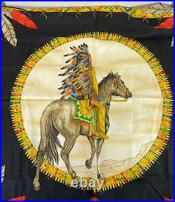 Rare Vtg Gianni Versace Bondage AW1992 Native American Print Silk Scarf