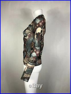 Rare Vtg Jean Paul Gaultier JPG Native American Print Sheer Top S