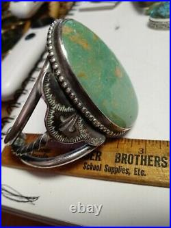 Rare Wow Antique Navajo Sterling Fred Harvey Cuff Huge Turquoise. Green
