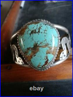 Rare Wow Navajo Sterling Fred Harvey Snake Cuff. #8 Turquoise Nice Looker