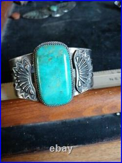 Rare Wow Pawn Huge Navajo Sterling Fred Harvey Kingman Green Turquoise